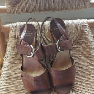 Joan and David brown leather sandals
